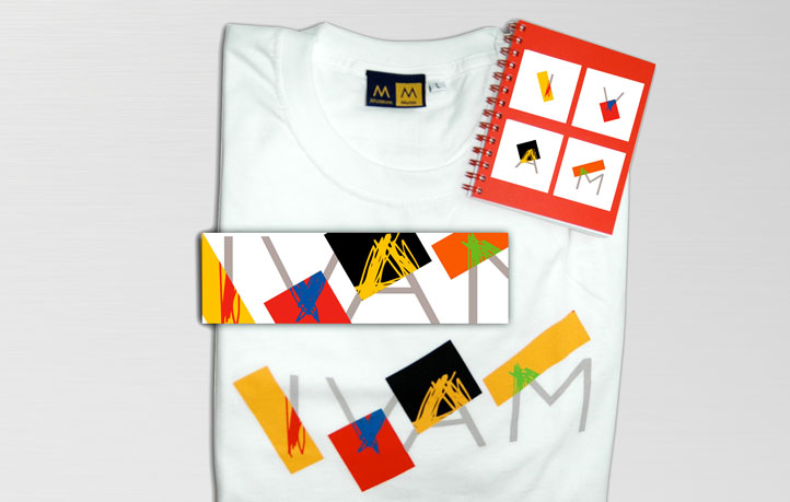 diseno identidad corporativa aplicaciones logotipos camisetas cuadernos ivam