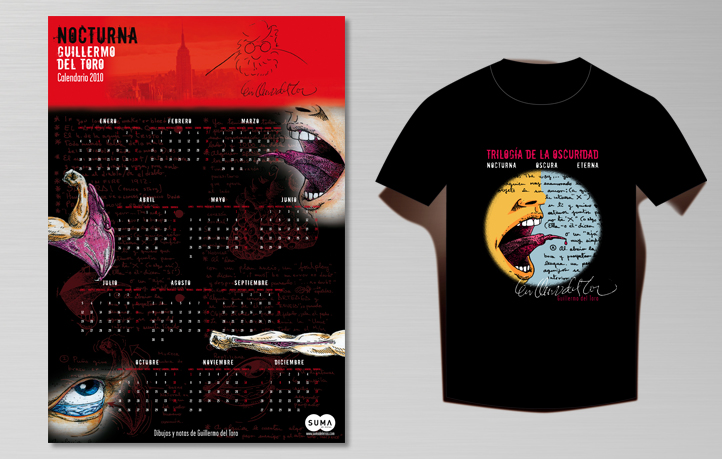 diseno campanas publicidad calendario camiseta guillermo toro suma letras