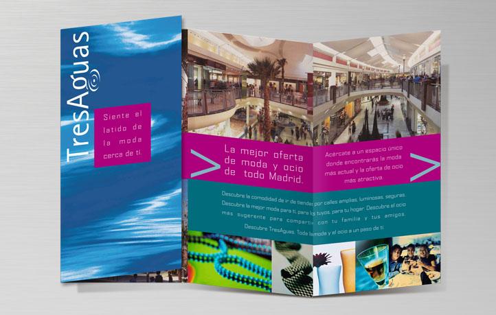 diseno folletos centro comercial tres aguas