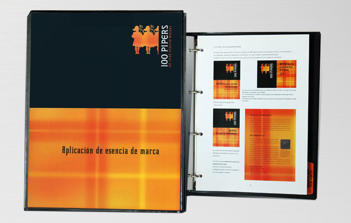 diseno objetos merchandising consumo identidad visual whisky 100 pipers