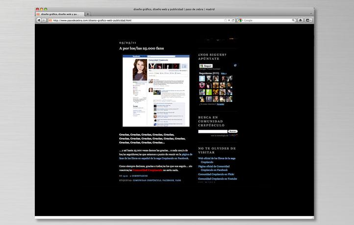 diseno mantenimiento contenidos blogs redes sociales saga crepusculo